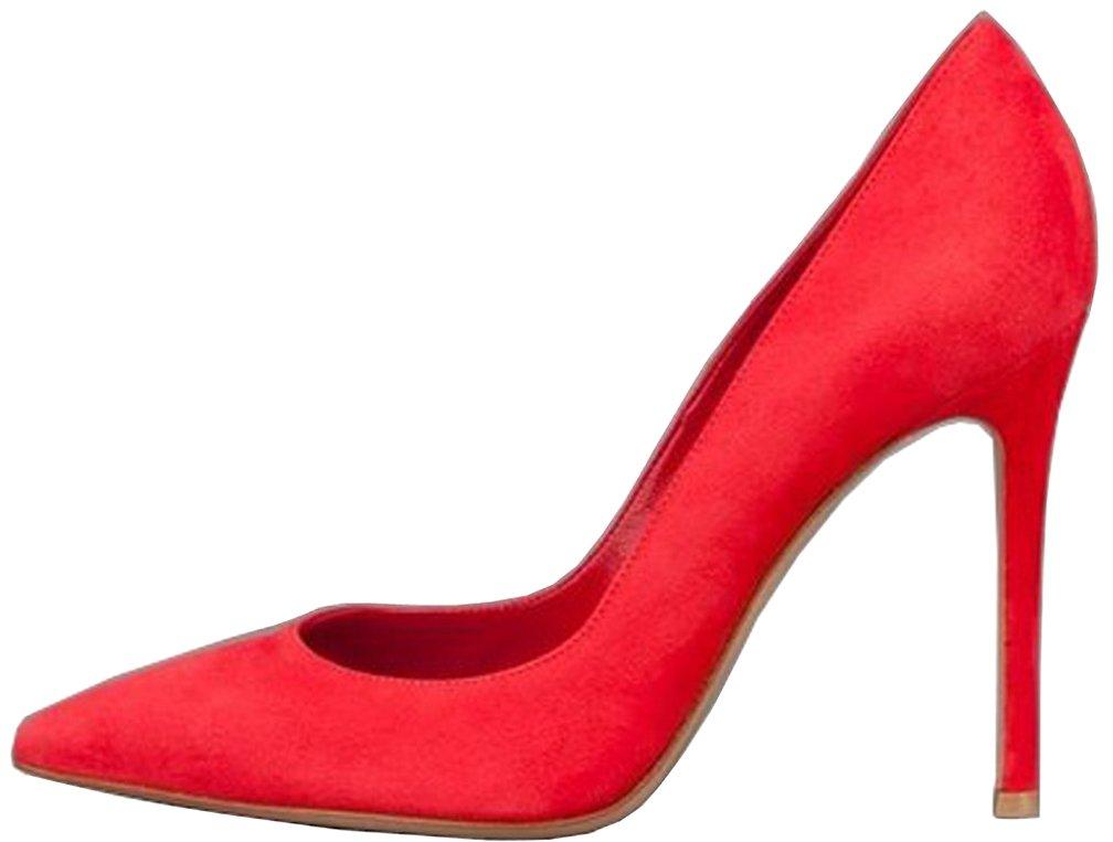 Calaier Mujer Cacloudy Tacón De Aguja 12CM Sintético Ponerse Zapatos de tacón 44.5|Rojo