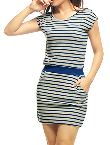 Allegra K Women Stripes Round Neck Sleeveless Paneled Dress XS Blue Grey
