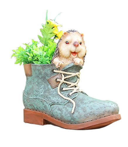 SINTECHNO SNF14187 Cute Porcupine Sculpture Nested in Shoe Flower Pot