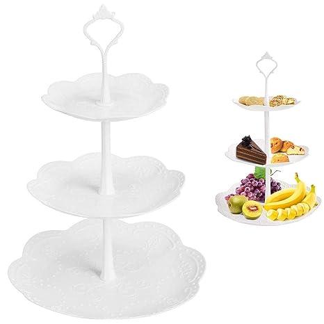Amazon.com: Soporte de plástico para tartas de 3 niveles ...