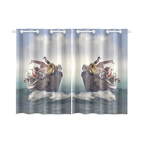 your-fantasia Wild Animals and Birds in an Old Boat Window Curtain Kitchen Curtain Two Pieces 26 x 39 inches by your-fantasia
