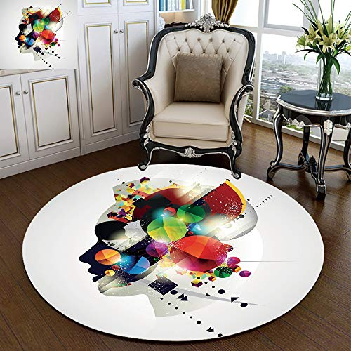 Modern Flannel Microfiber Non-Slip Machine Washable Round Area Rug,Modern Graphic Composition with Colorful Geometric Digital Shapes and Girl Profile(4 feet) Multicolor,Home Decor Living Room Bedroom