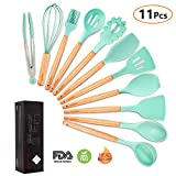MIBOTE Non-Stick Silicone Cooking Kitchen Utensils Set 11pc Wood Acacia Deal (Small Image)