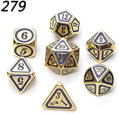 TGWCJDBB Juego de Dados estándar,RPG Dice Dungeons and Dragons Juegos de Mesa Cubos de Metal poliédrico Azul Dorado Aleación de Zinc Nuevos Cubos de números de Estilo Juegos de Mesa 279: Amazon.es: