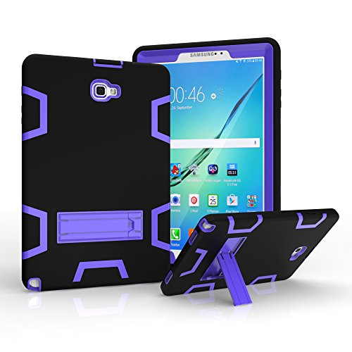 Samsung Galaxy Tab A 10.1 with S Pen Case, Beimu 3in1 Combo Hybrid Heavy Duty Full-Body Holster Rugged Defender Protective Kickstand Case for Samsung Tab A 10.1 with S Pen SM-P580/P585 (Black+Purple)