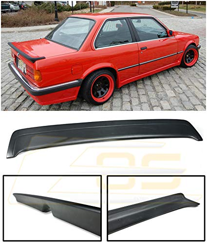 Extreme Online Store Replacement for 1985-1991 BMW E30 3-Series | EOS M-Tech 1 Style Fiberglass Primer Black Rear Trunk Lid Wing Spoiler SPOILER-031A-FRP