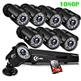 XVIM 8CH 1080P Security Camera System Outdoor with 1TB Hard Drive Pre-Install CCTV Recorder 8pcs HD...
