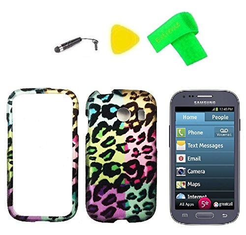 Hard Snap On Protector Cover Phone Case + Screen Protector + Extreme Band + Stylus Pen + Pry Tool For Samsung Jitterbug Touch 3 SM-G310R5 (Exotic Leopard)