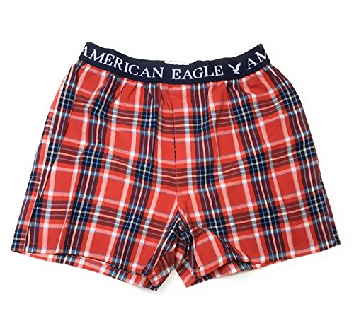 American Eagle Plaid - American Eagle Men's Boxer red plaid(4539)T10 (Medium, Red plaid)