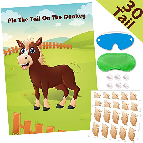 The Donkey Game (Hokic Pin The Tail On The Donkey Party Game for Kids Birthday Decorations Carnival Party Supplies, Game)
