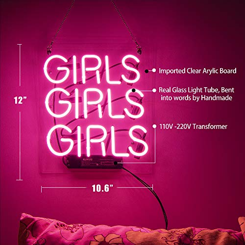 Neon Signs Girl Girls Wall Decor Light Led For Bedroom Words Cool
