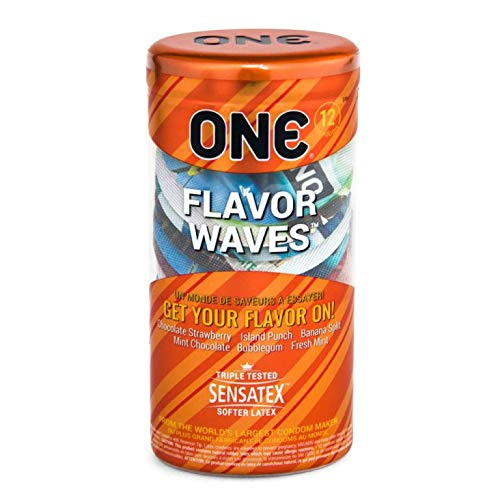 ONE Flavor Waves Condoms with Pocket Travel Case, Premium Lubricated Flavored Latex Condoms-12 Count (Silver Case)
