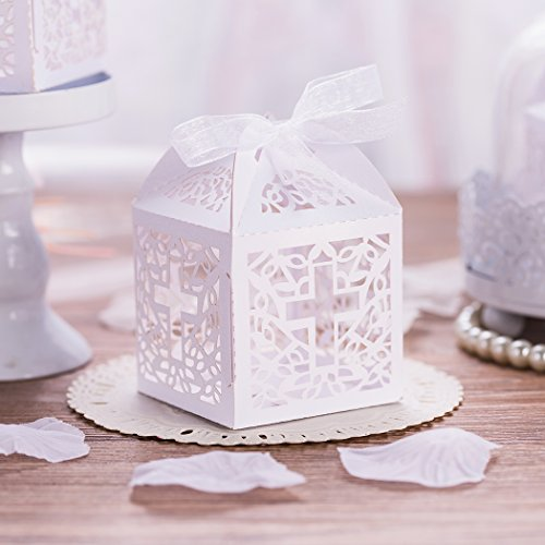 KAZIPA 50PCS Baptism Favor Boxes, 2.2''x2.2''x2.2''Laser Cut Favor Boxes with 50 Ribbons for Baby Shower Favors Baptism Decorations First Birthday Party (Baptism Decor)
