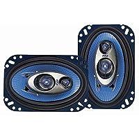 Sistema de altavoces de sonido de tres vías Pyle 4 '' x 6 '' - Pro Audio de rango medio triaxial alto de 240 vatios por par con una impedancia de 4 ohmios y tweeter piezoeléctrico de 3/4 '' para el componente del auto estéreo PL463BL