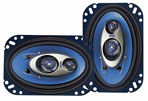Pyle 4'' x 6'' Three Way Sound Speaker System - Pro Mid Range Triaxial Loud Audio 240 Watt per Pair  w/ 4 Ohm Impedance and 3/4'' Piezo Tweeter for Car Component Stereo PL463BL