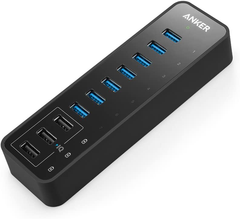 Anker 10 Port 60W Data Hub with 7 USB 3.0 Ports and 3 PowerIQ Charging Ports for MacBook, Mac Pro/Mini, iMac, XPS, Surface Pro, iPhone 7, 6s Plus, iPad Air 2, Galaxy Series, Mobile HDD, and More