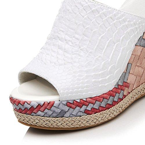 Donna sulla Aperte AIYOUMEI Bianco Caviglia qHFwxz