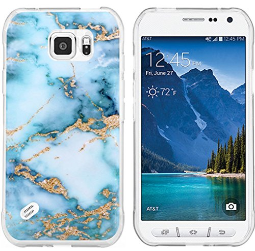 S6 Active Case Granite & Galaxy S6 Active Protector & MUQR Replacement Bumper Rubber Gel Silicone Slim Drop Proof Protection Compatible Cover for Samsung Galaxy S6 Active & Blue Marble Pattern