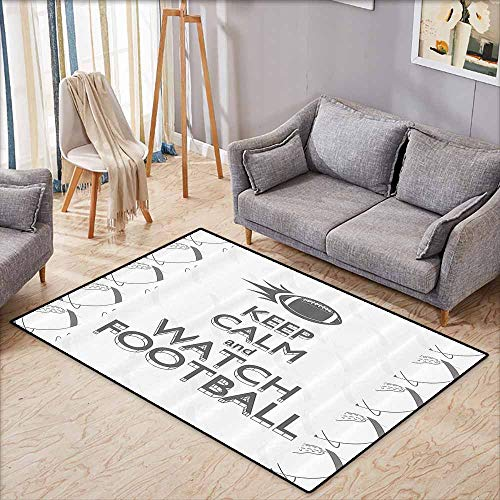 Custom Door Rugs for Home Rugs Football American Sport Play Keep Calm Quote Monochrome Rocket Ball Vintage Label Black White Grey Easy to Clean W4'9 xL3'9