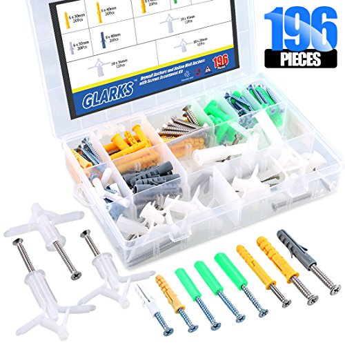 Glarks 196Pcs Self Drilling Drywall Anchors and Hollow Wall Anchors with Screws Assortment Kit by Glarks