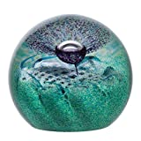 Caithness Glass Crystal Flower of Scotland Scottish Paperweight, Green/ Purple by Caithness Glass