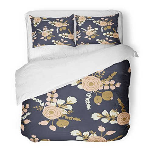 Rosa Duvet Cover - SanChic Duvet Cover Set Watercolor Gold Rosa Blush Noisette Modern Rose Floral Pattern Flower Drawn Decorative Bedding Set 2 Pillow Shams King Size