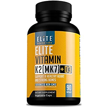 Vitamin K2 (MK7) with D3 Supplement - Potent Vitamin D & K Complex for Bone and Hearth Health - Vitamin D3 5000 IU & 180 Mcg of K2 MK7 - Best D3 ...