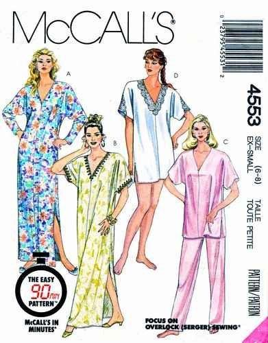 Mccalls 4553 Misses Pullover Top Pants Nightie, Caftan, Fast Easy Sewing Pattern