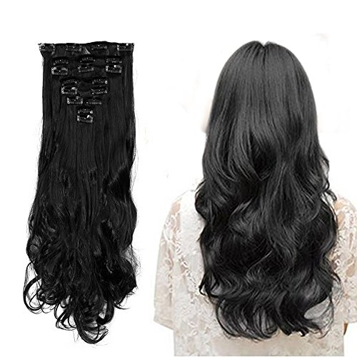 8 Fashion Outlet (S-noilite17 inches(43CM) Long Curly Wavy Natural Black Clip in on 8 Pieces Full Head Set Hair Extensions 100% Real Natural Like Human Top Synthetic Hairpiece Extension)