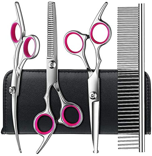 Dog Grooming Scissors Kit with Safety Round Tips, TINMARDA Stainless Steel Professional Dog Grooming Shears Set – Thinning, Straight, Curved Shears and Comb for Long Short Hair for Dog Cat Pet