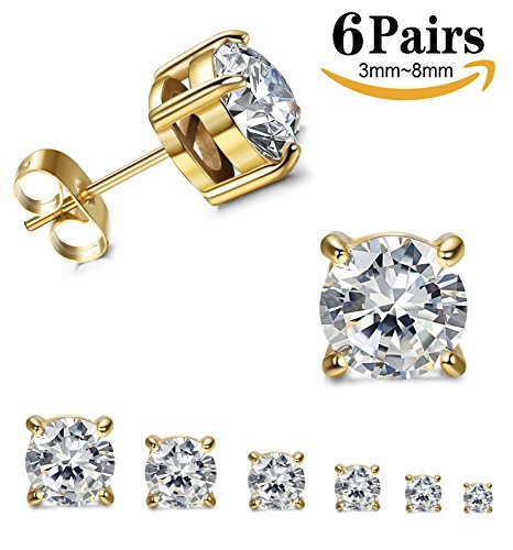 Thunaraz Stainless Steel Stud Earrings for Women Round Cut Cubic Zirconia Earrings Set 6 Pairs 3mm-8mm Gold (Gold Titanium Earrings)