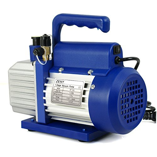 ZENY 4CFM Single-Stage 5 Pa Rotary Vane Economy Vacuum Pump 3 CFM 1/3HP Air Conditioner Refrigerant HVAC Air Tool R410a 1/4 Flare Inlet Port, Blue by ZENY (Image #2)
