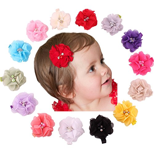 QandSweet Baby Girl Safety Hair Clips Crystal Flower Toddlers Hair Barrettes