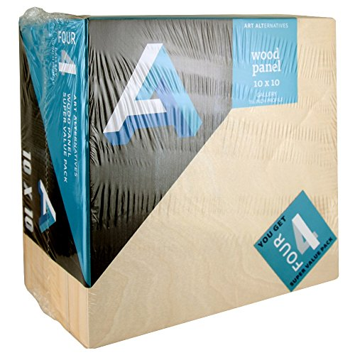 Art Alternatives Wood Panel Super Value Gallery,10x10,Natural,Pack of 4 by Art Alternatives