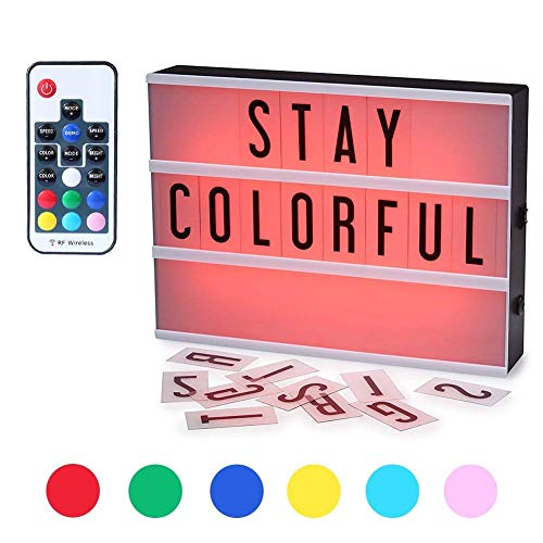 ROTEK Cinema Light Box, A4 Size 7 Colors Remote-Controlled LED Light Box with 189 Letters,Built-in Battery DIY Mini Light Box for Wedding, Halloween, Chrismas,Dorm Room Decorations
