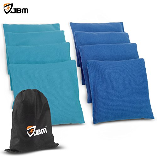 JBM Cornhole Bag 8 Color Available ( Pack of 8 ) Weather Resistant Cornhole Bags with Recycled Plastic Pellets for Tossing Corn Hole Game - Free Carrying Bag Included