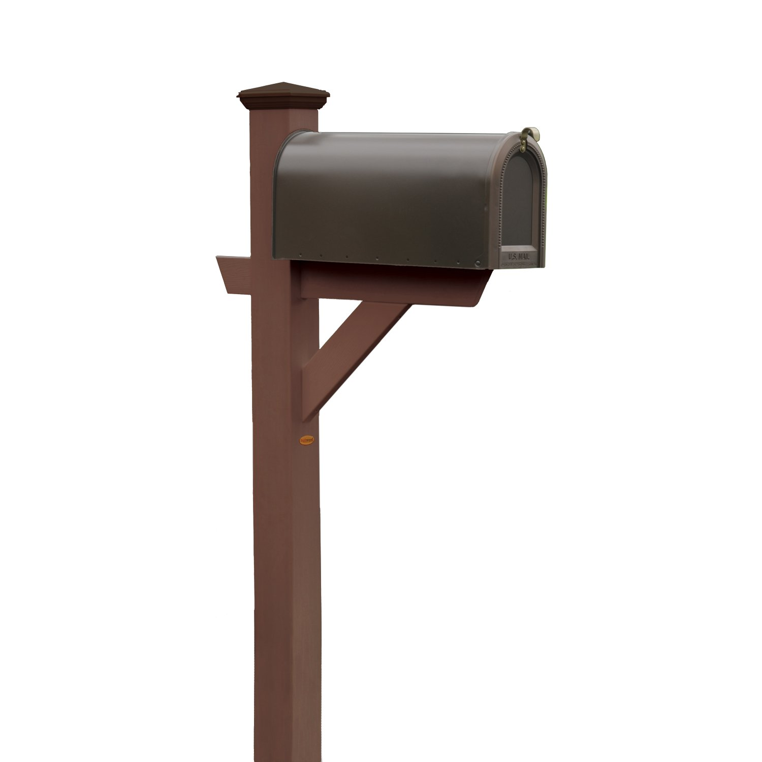 Phat Tommy Outdoor Recycled Poly Highwood Mailbox Post–Made in USA, Eco-Friendly Patio Furniture, Clearance