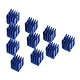 10PCS 3D Printer Stepper Motor Heat Sink 3D Printer Parts and Accessories Cooling Block Fin for TMC2100 TMC2208 TMC2130 A4988 LV8729 DRV8825 Stepper Motor Drive Board, Blue