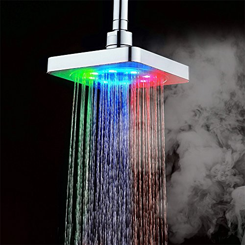 Rainbow Over Waterfall (GuDoQi 3 colors changing LED shower head bathroom rainfall shower heads waterfall shower head 6 inch square temperature control)