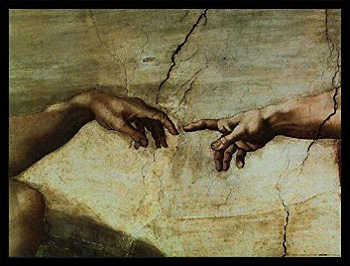 1art1 Michelangelo Buonarroti Poster Art Print and Frame (MDF) Black - Creazione Di Adamo (32 x 24 (Adamo Poster)
