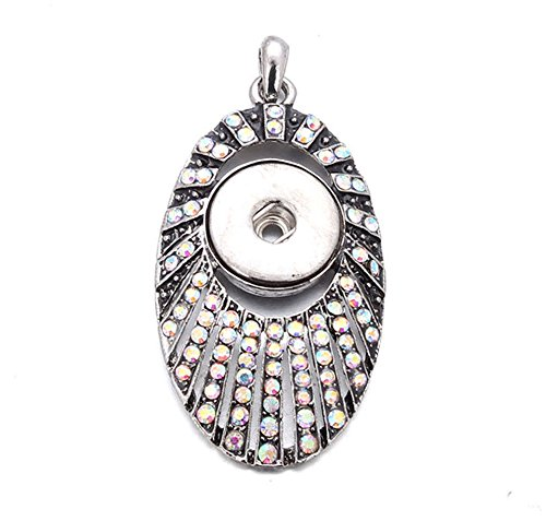 (Crystal Sector Pendant Necklace Drill Snap Fit Noosa 18mm Chunk Charm)