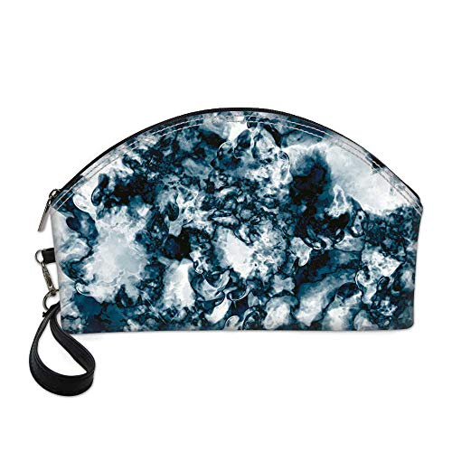 Marble Beautiful Women's semi circular cosmetic bag,Unusual Gemstone Onyx Rock Nature Pattern with Vintage Paintbrush Effects Decorative For traveling,10.8