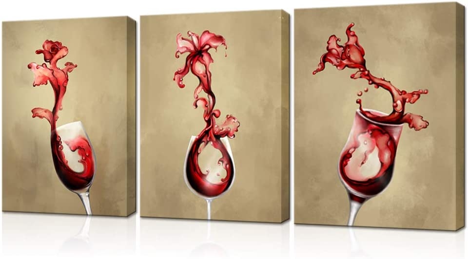 LoveHouse 3 Panel Kitchen Wall Art Red Wine Splashing into Glass Rose Equinox Flower Tulip Creative Canvas Art Print Rustic Painting Artwork Decor for Restaurant Bar Home Decor Stretched 12x16inchx3pc