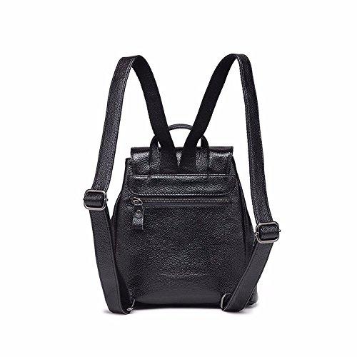 Nueva moda de cuero bolso mochila,Black Azul
