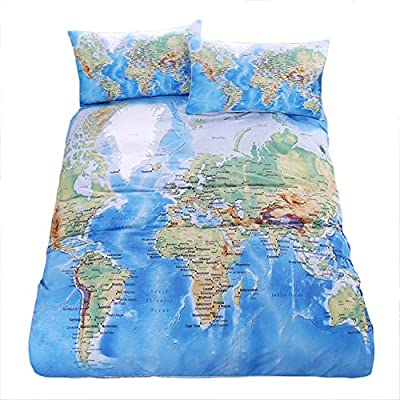 Sleepwish World Map Printing Duvet Cover Set 3 Piece Twin Full Queen King Size