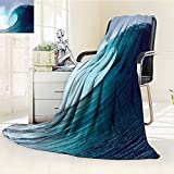 AmaPark Digital Printing Blanket Tropical Surfing Wave on a Windy Sea Indonesia Sumatra Print Summer Quilt Comforter