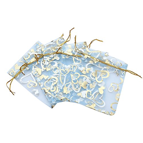 (Anleolife 3.5x4.5 inch Blue Organza Bags/Jewelry Pouch Bags/Organza Velvet Drawstring Pouches Wedding Favors Candy Gift Bags 100pcs(light blue)
