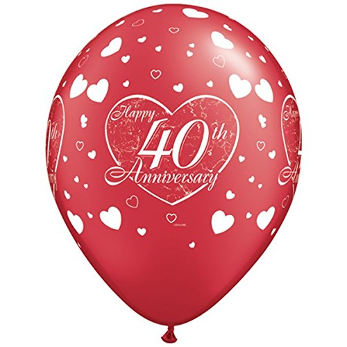 Ruby 40th Anniversary Little Hearts 11 Inch Qualatex Latex Balloons (5 pack) (40th Anniversary Balloons)