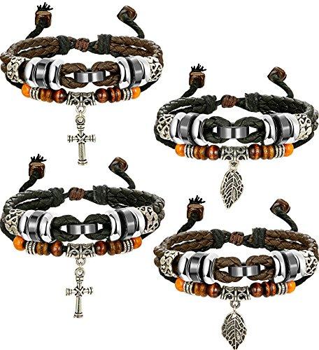 (FIBO STEEL Adjustable Multilayer Leather Bracelet Mens Womens Woven Cross Leaf Bracelet)