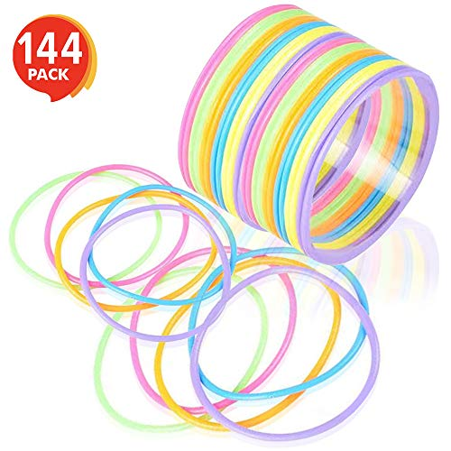 ArtCreativity Jelly Bracelets for Kids and Adults (144 Pack) | Colorful Stretchy Rubber Wristbands for Boys and Girls | Fun Birthday Favors, Goodie Bag Fillers, 80's Party Decorations -